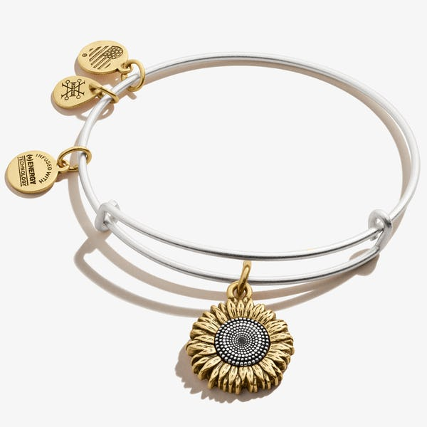 Sunflower Charm Bangle, Rafaelian Silver, Alex and Ani