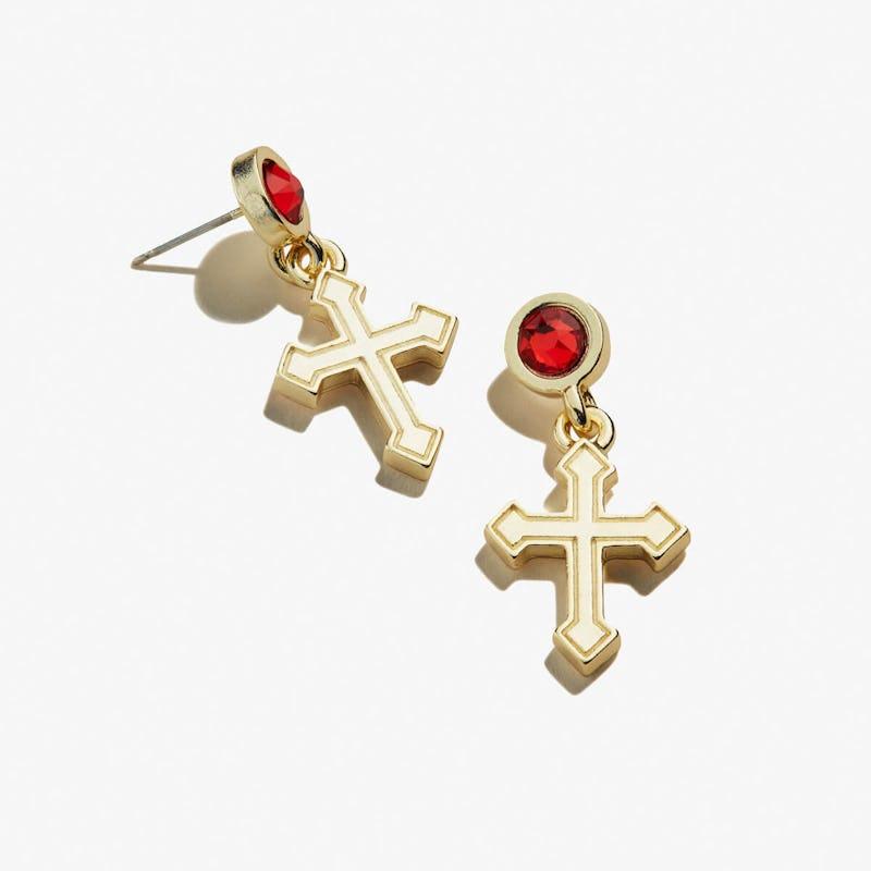 Cross + Crystal Delicate Earrings