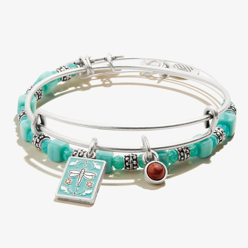 Dragonfly + Red Jasper Duo Charm Bangle, Set of 2