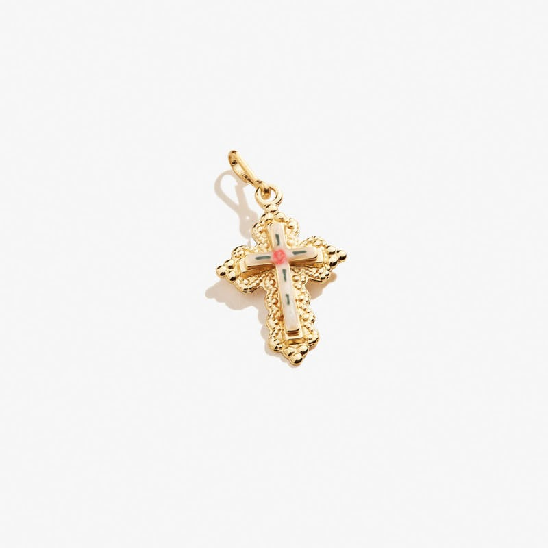 Floral Cross Charm, Small