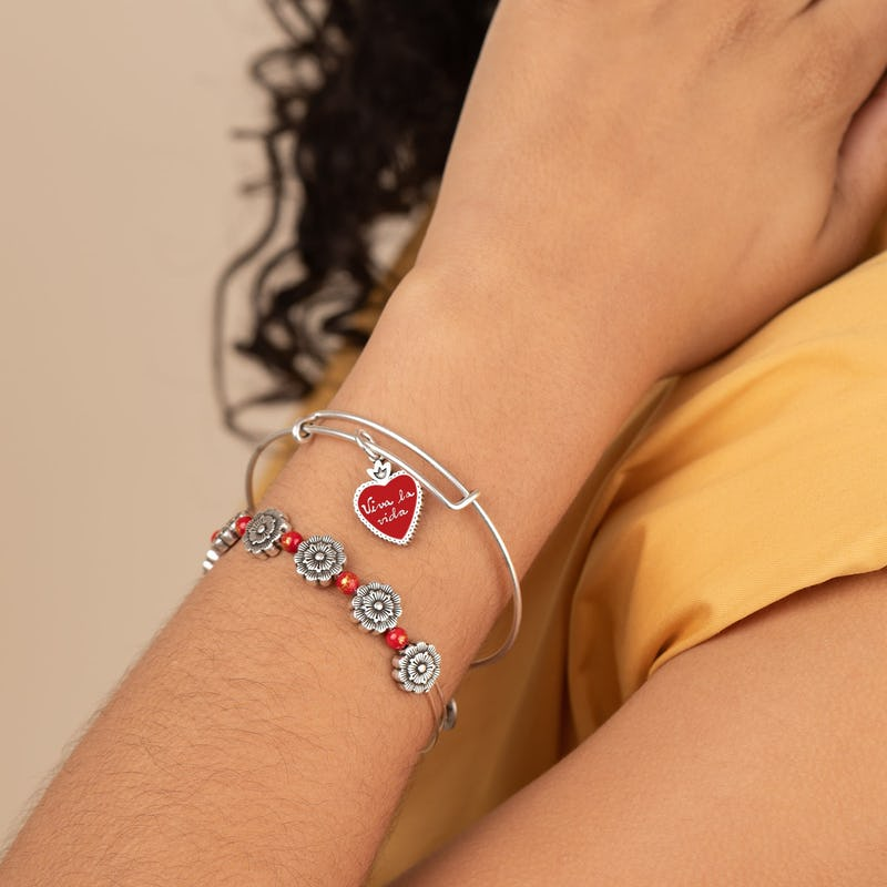 Frida Kahlo 'Viva la Vida' Sacred Heart Charm Bangle, Set of 2