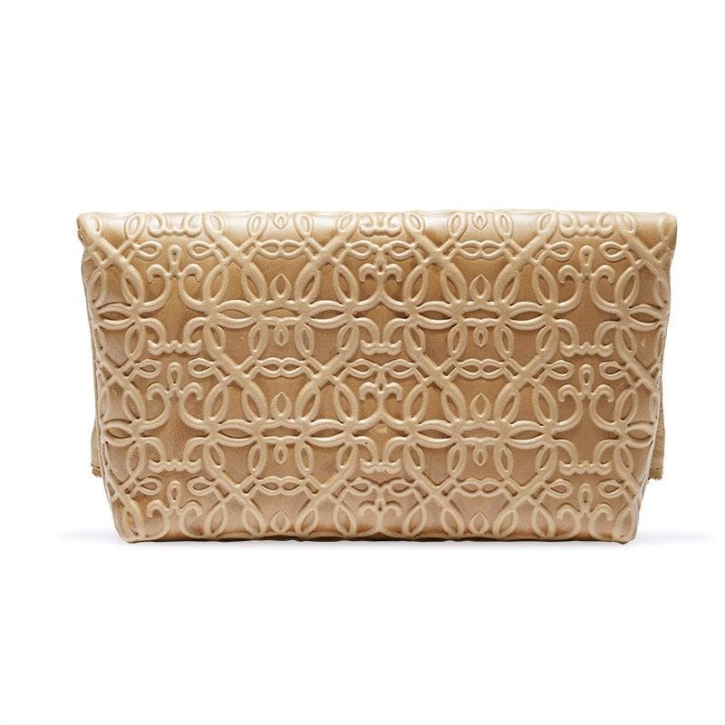 Gabriel Leather Fold Over Clutch, Light Brown