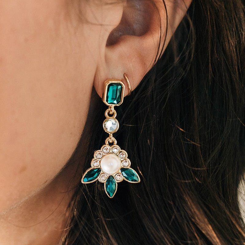 Green Marquise Statement Earrings
