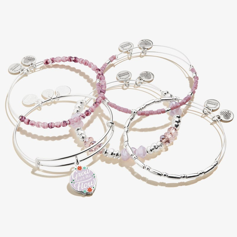 'Grow with the Flow' Charm Bangle, Set of 5