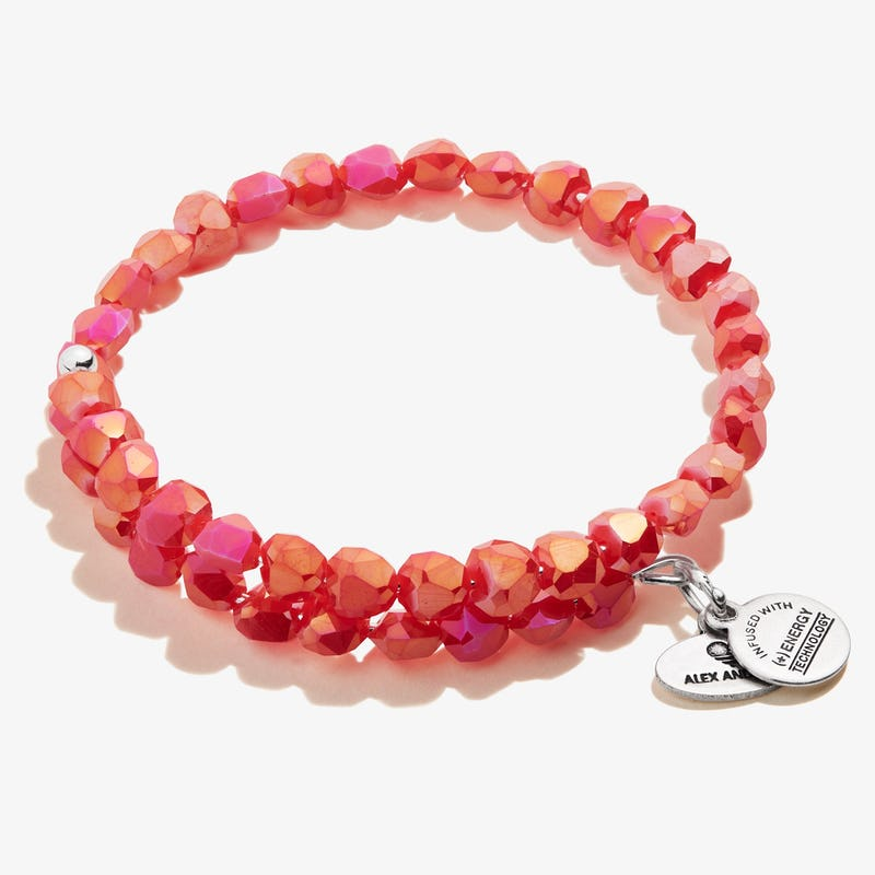 Happiness Beaded Wrap Bracelet, Berry Red