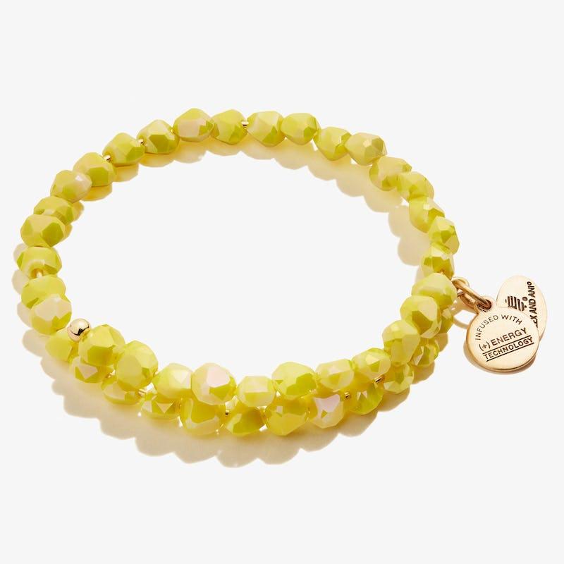 Happiness Beaded Wrap Bracelet, Lemon Yellow