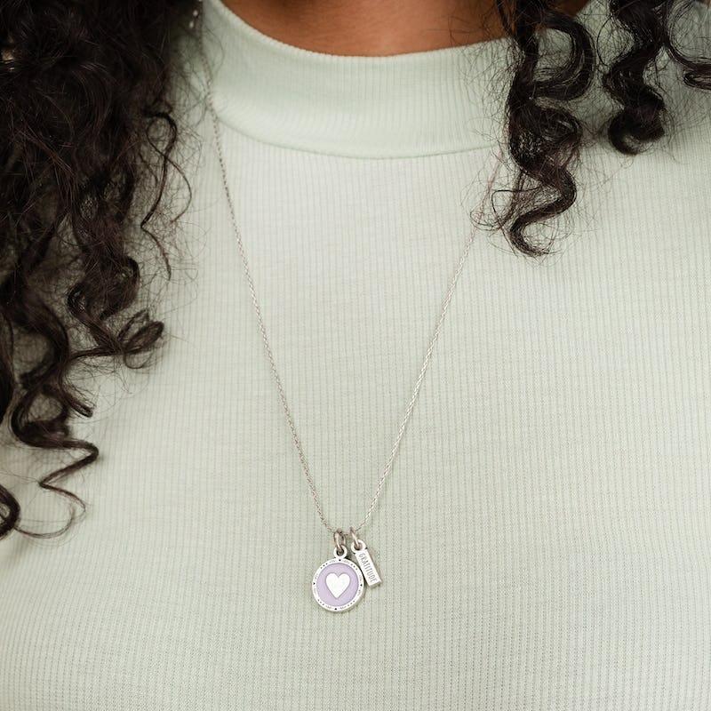 Heart + Gratitude Mantra Duo Charm Necklace