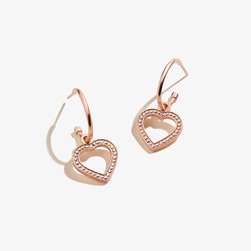 Pavé Heart Huggie Hoop Earrings
