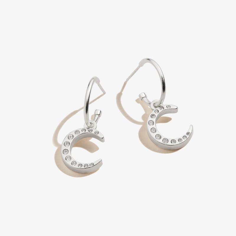 Pavé Moon Huggie Hoop Earrings