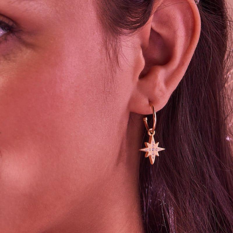 Pavé North Star Huggie Hoop Earrings
