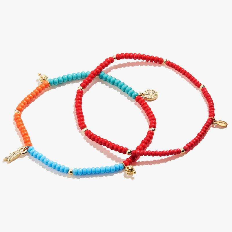 Tropical Seed Bead Anklet, Set of 2