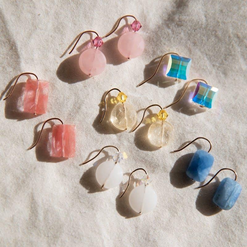 White Quartz Gemstone Earrings