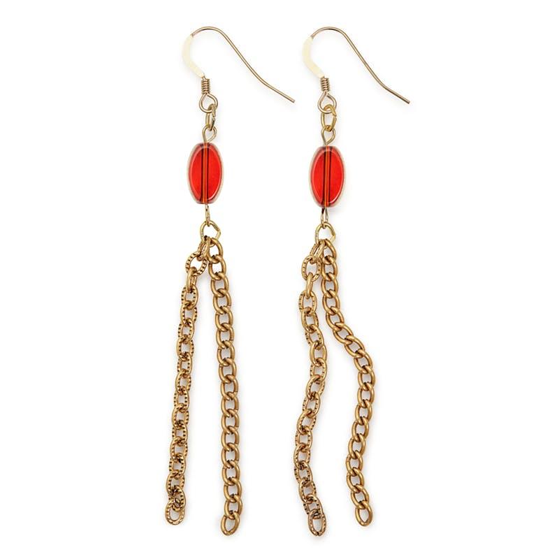 Chain Drop Earrings, Red