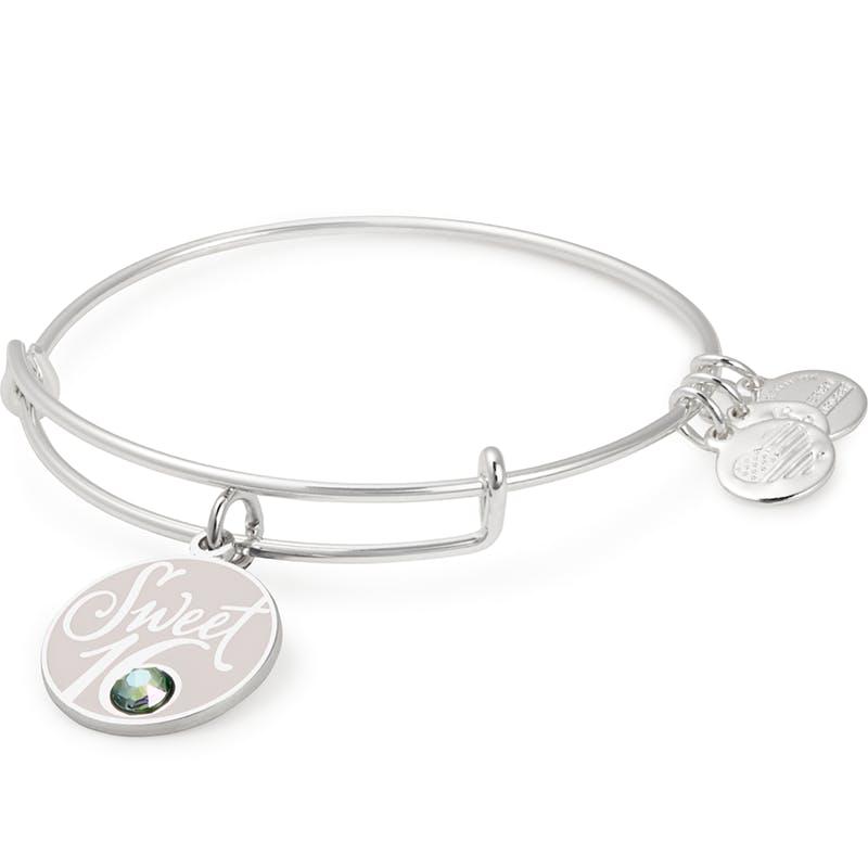 Sweet 16 Charm Bangle Bracelet, Shiny Silver, Alex and Ani