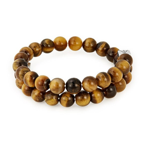Tiger's Eye Gemstone Beaded Wrap Bracelet, Men's, Rafaelian Silver, Alex and Ani
