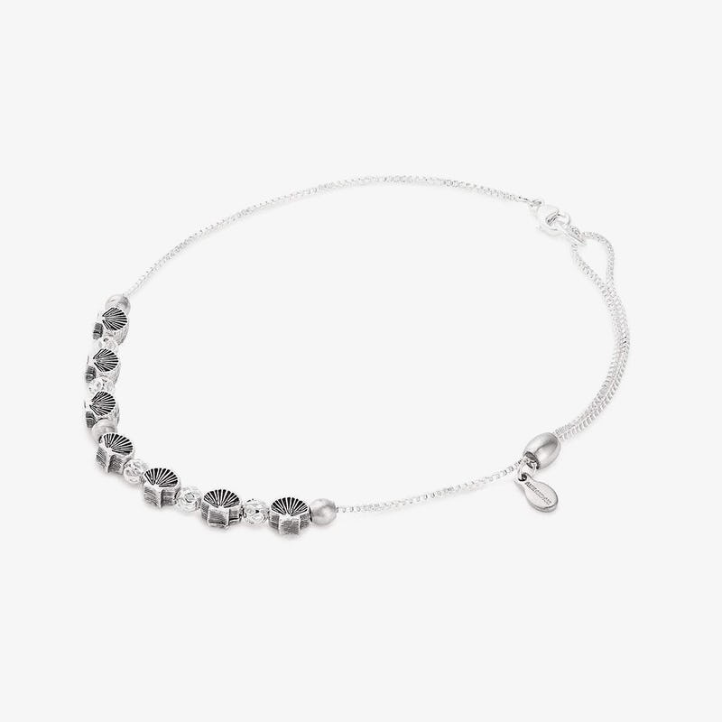 Seashell Charm Anklet, Shiny Silver, Alex and Ani