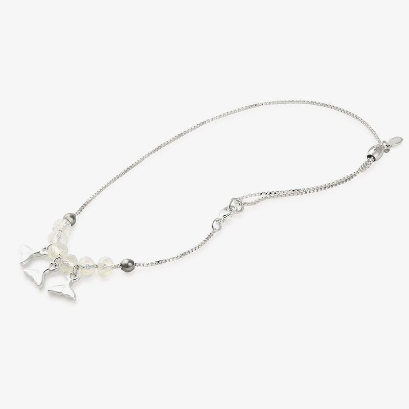 Whale Tail Charm Anklet, Shiny Silver, Alex and Ani