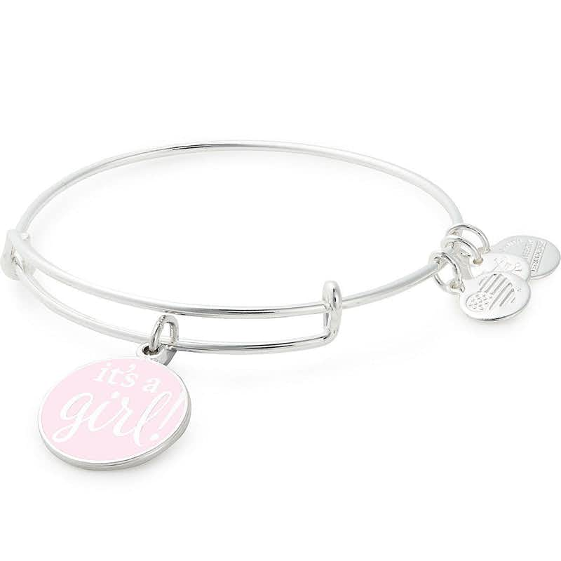 It's a Girl' Charm Bangle, Shiny Silver, Alex and Ani