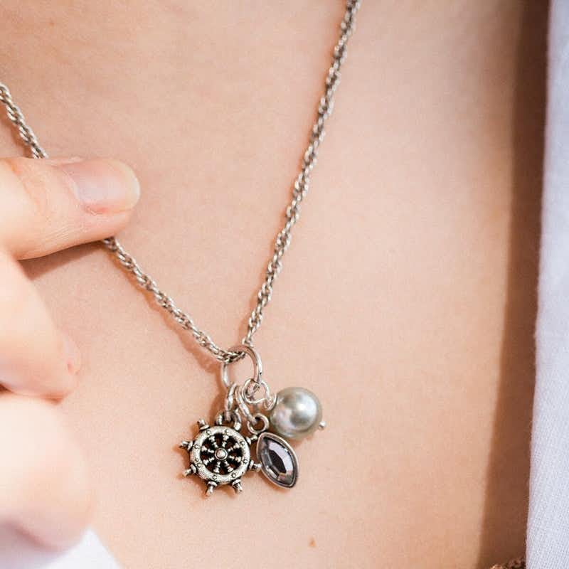 Ship Wheel Trio Charm Necklace