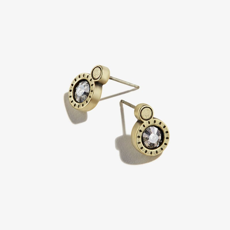 Black Crystal Patina Stone Stud Earrings