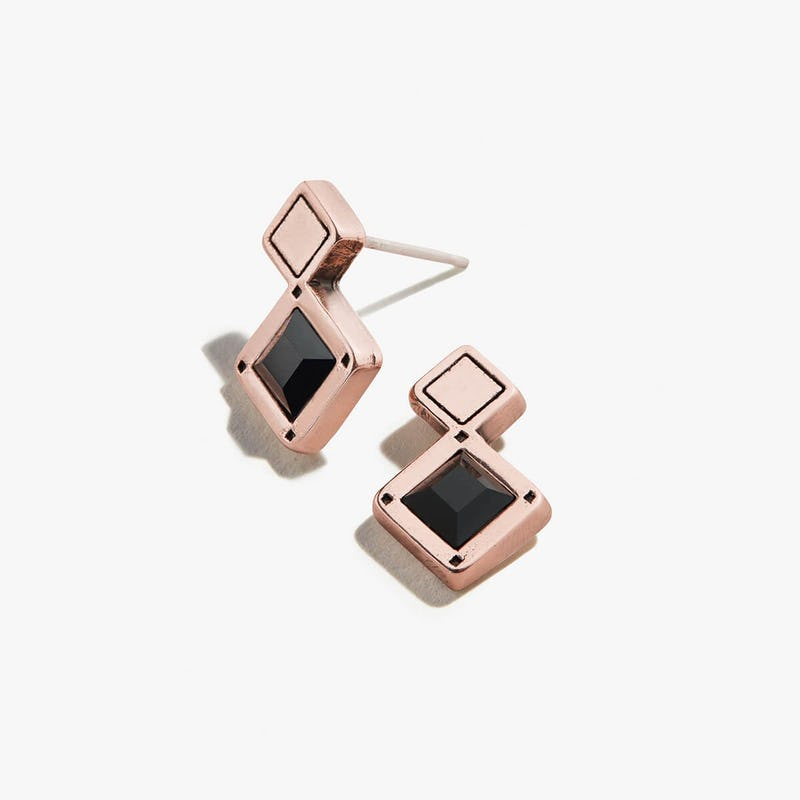 Jet Black Crystal Stud Earrings