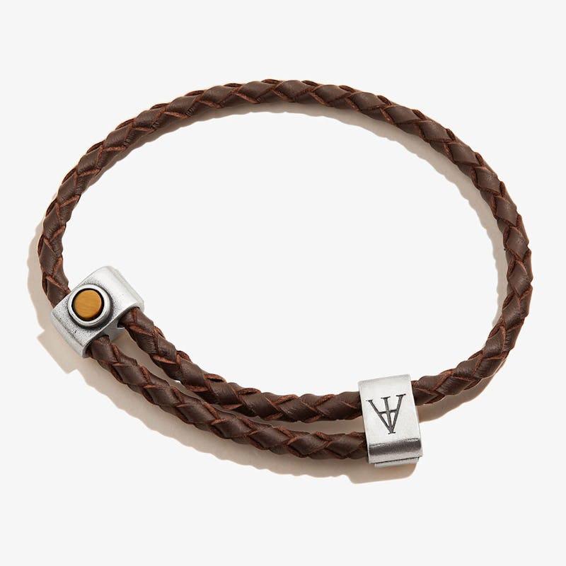 Tiger's Eye Gemstone Braided Leather Bracelet, Men's, Rafaelian Silver, Alex and Ani