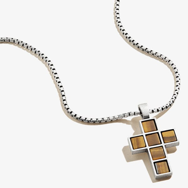 Tiger's Eye Gemstone Cross Necklace, Men's, Rafaelian Silver, Alex and Ani