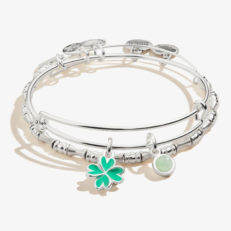 Four-Leaf Clover Duo Charm Bangles, Set of 2
