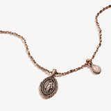 Rose Quartz Gemstone + Mother Mary Duo Charm Necklace