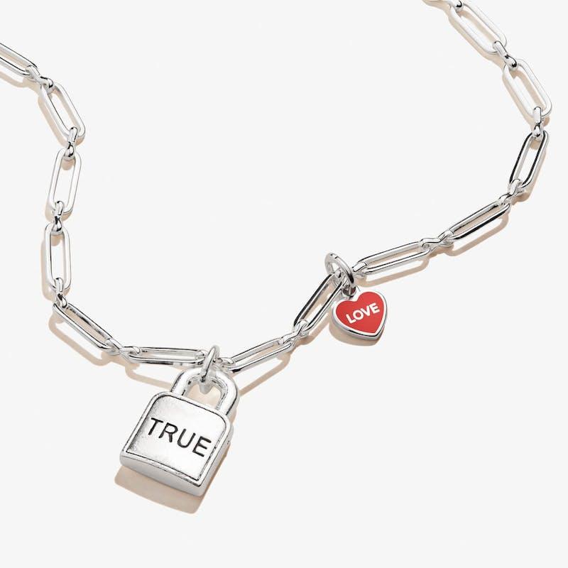 'True Love' Lock & Heart Charm Necklace