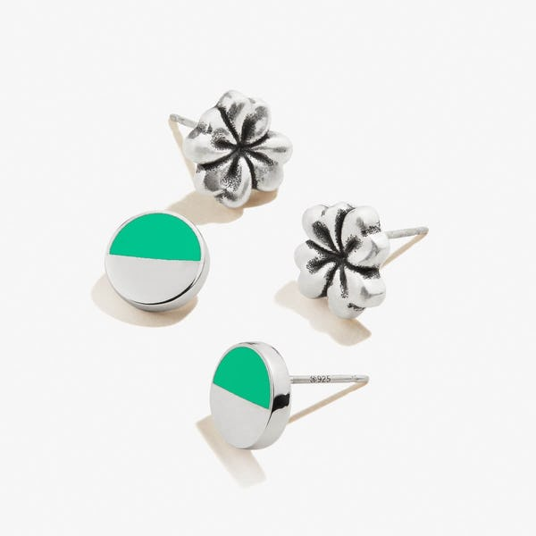Four-Leaf Clover Earrings, Set of 2