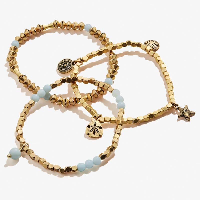 Sand Dollar + Ocean Multi-Charm Stretch Bracelets, Set of 3