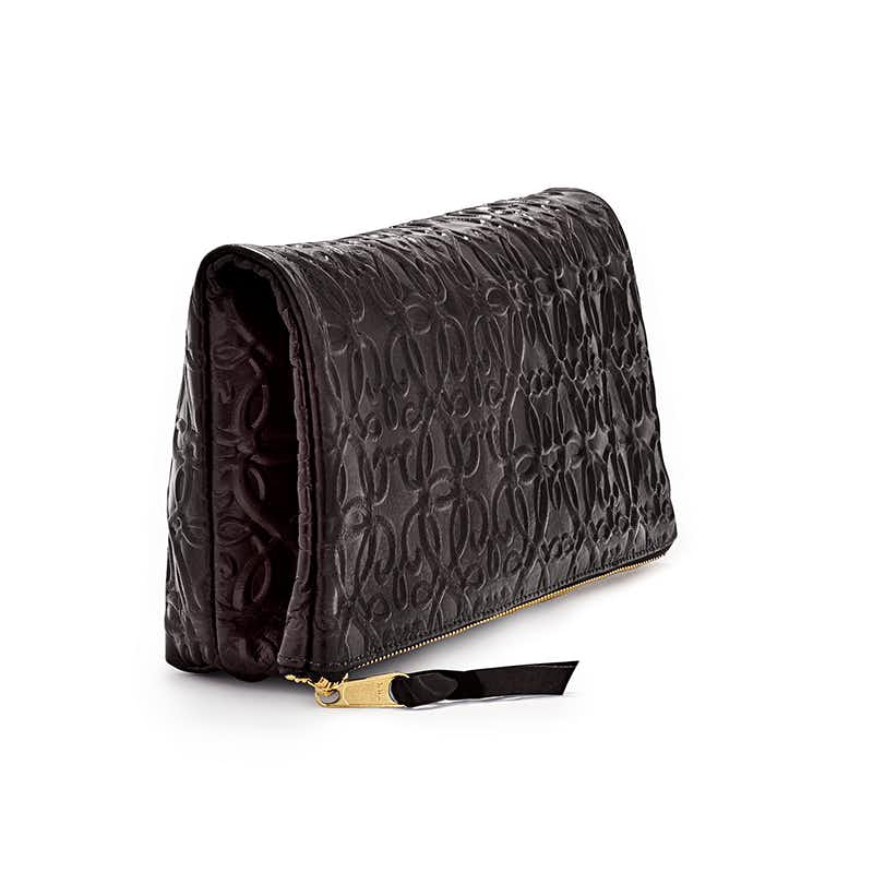 Fold Over Leather Clutch, Black