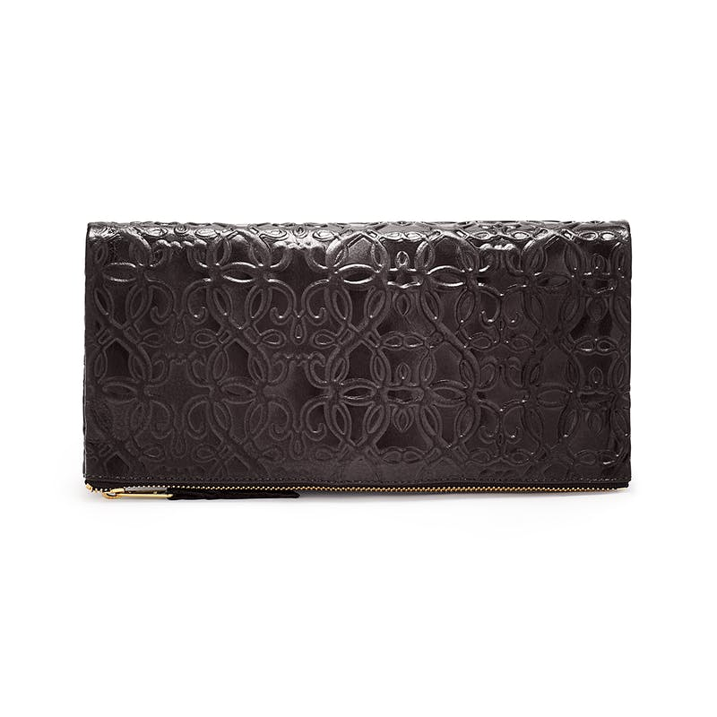 Fold Over Leather Clutch, Black, Alex and Ani