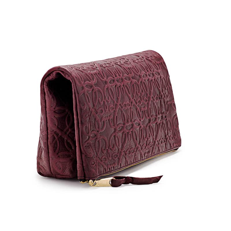 Fold Over Leather Clutch, Burgundy