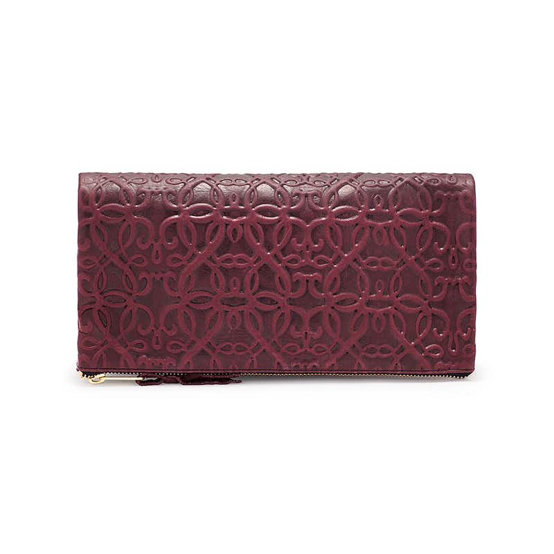 Fold Over Leather Clutch, Burgundy, Alex and Ani