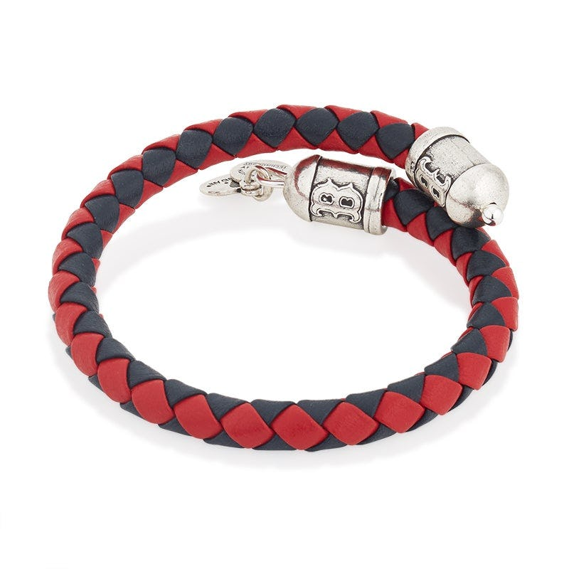 Boston Red Sox MLB Braided Leather Wrap Bracelet