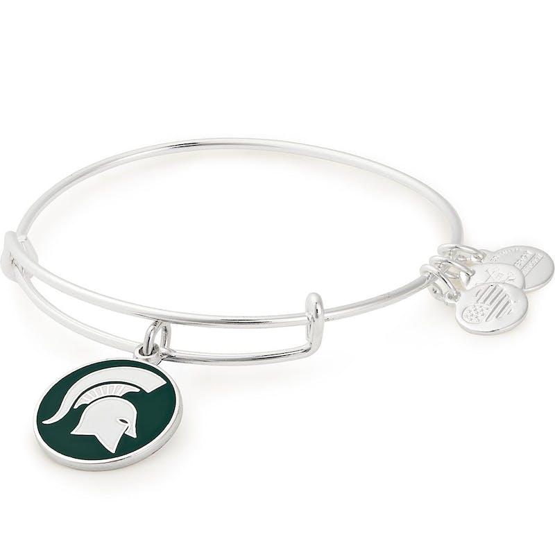 Michigan State University Logo Charm Bangle, Shiny Silver, Alex and Ani