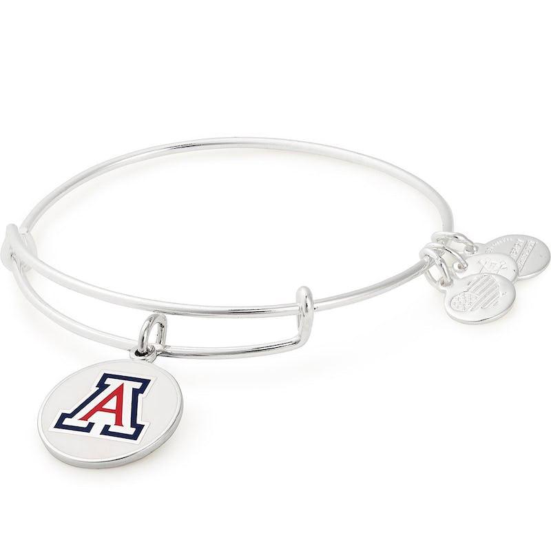 University of Arizona Logo Charm Bangle, Shiny Silver, Alex and Ani