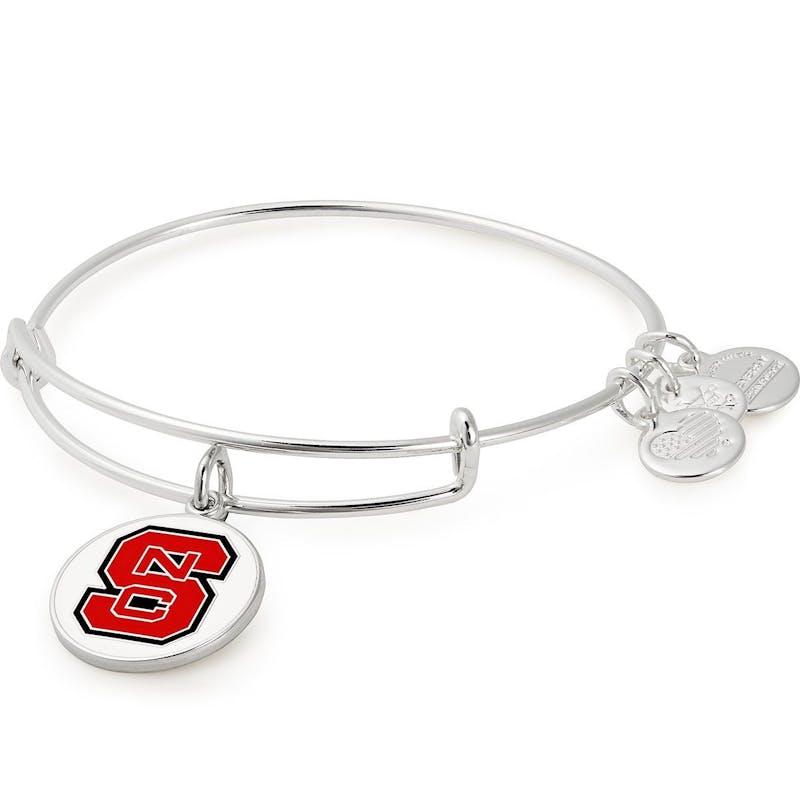 North Carolina State University Logo Charm Bangle, Shiny Silver, Alex and Ani