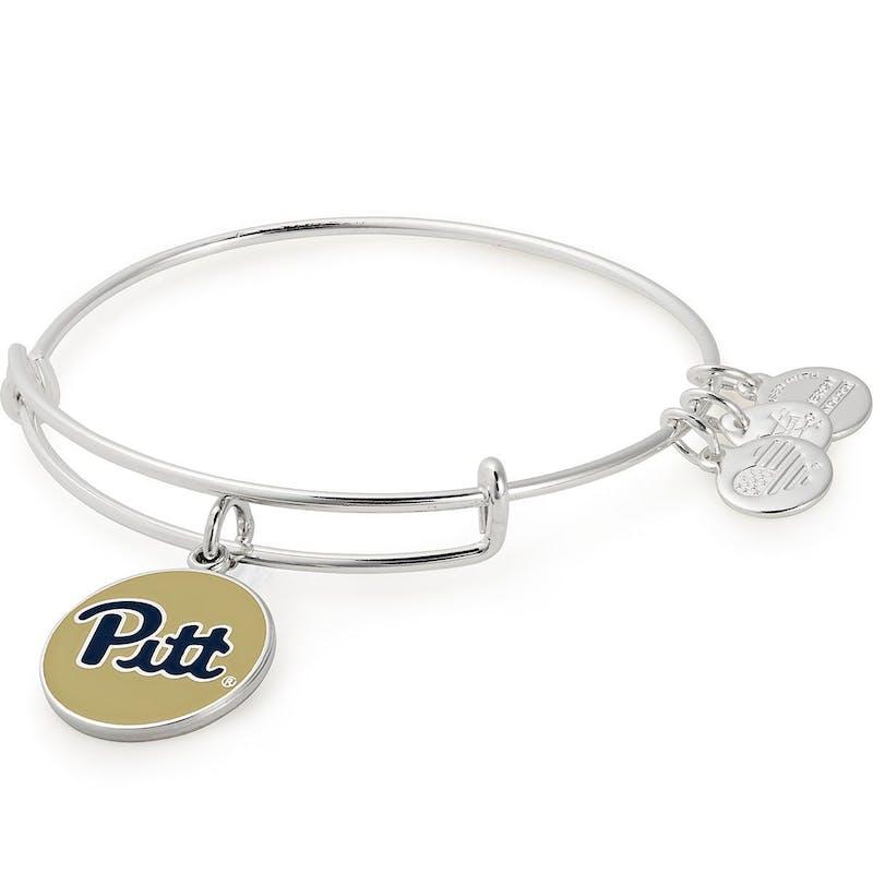 University of Pittsburgh Logo Charm Bangle, Shiny Silver, Alex and Ani
