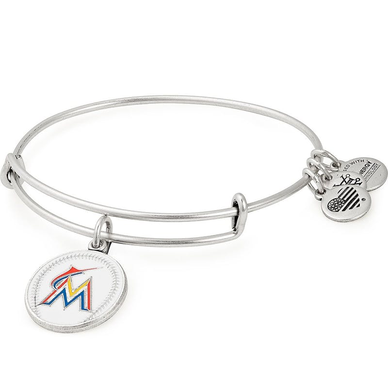 Miami Marlins MLB Charm Bangle, Rafaelian Silver, Alex and Ani
