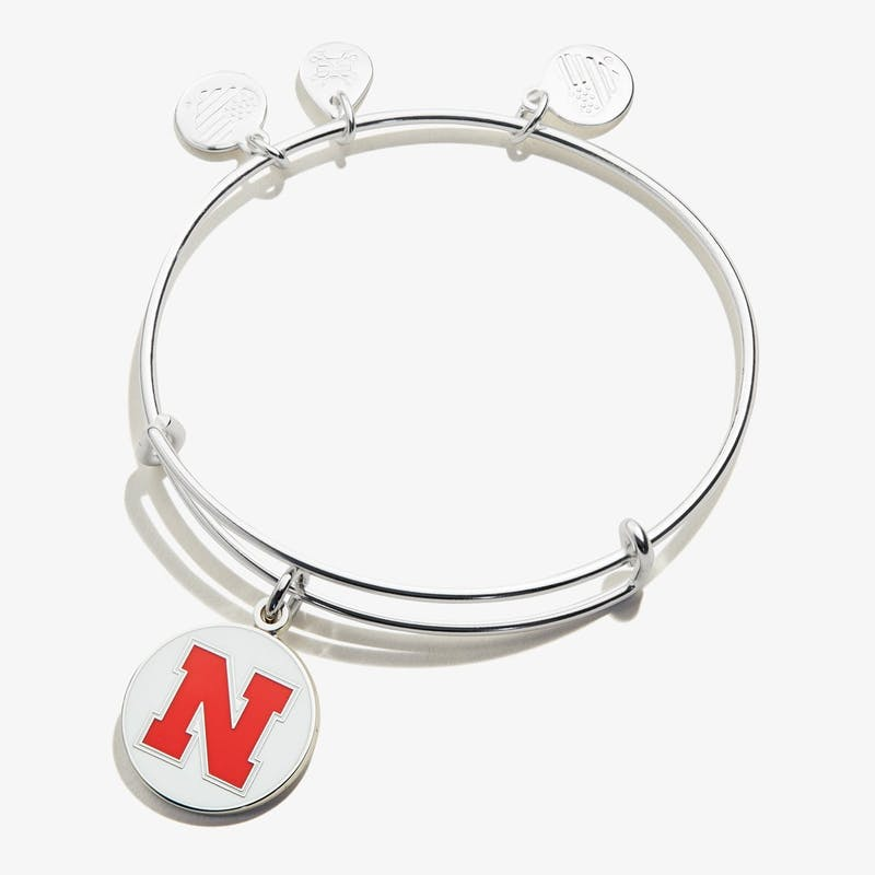 University of Nebraska Logo Charm Bangle, Shiny Silver, Alex and Ani