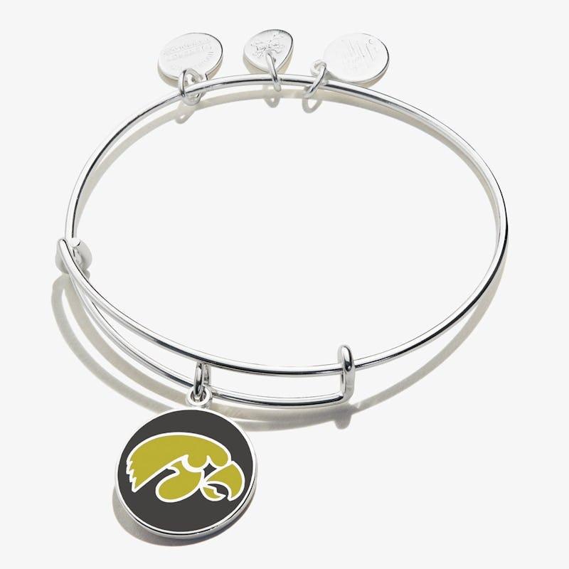 University of Iowa Logo Charm Bangle, Shiny Silver, Alex and Ani
