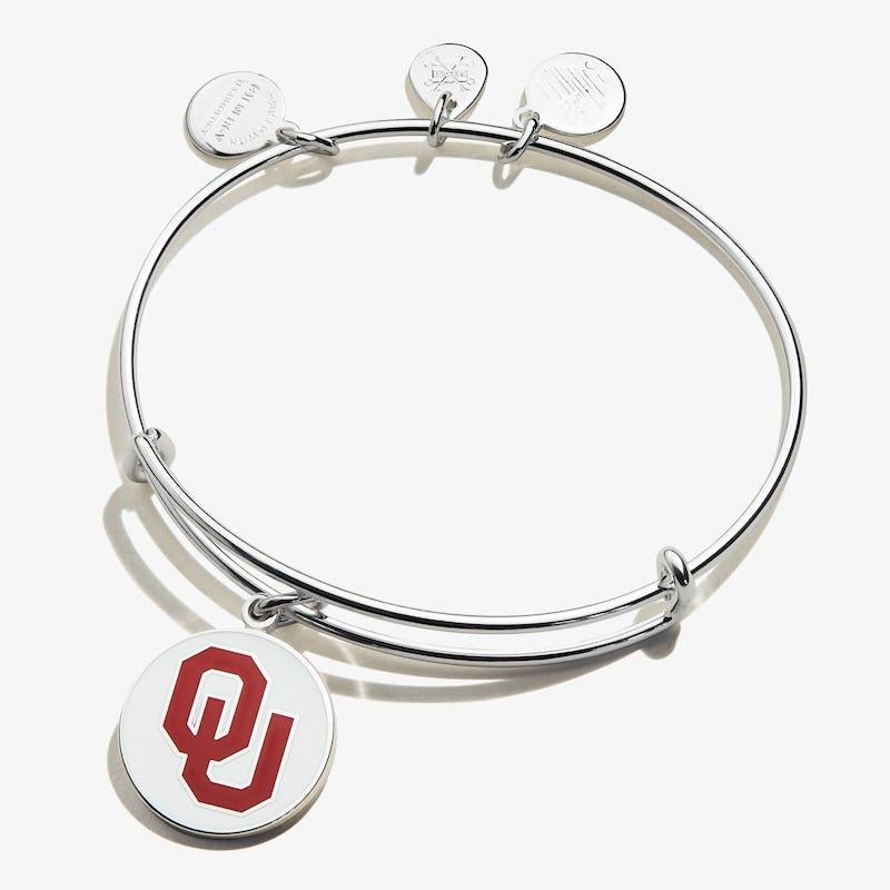 University of Oklahoma Logo Charm Bangle, Shiny Silver, Alex and Ani