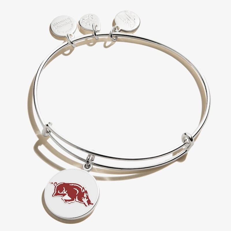 University of Arkansas Logo Charm Bangle, Shiny Silver, Alex and Ani
