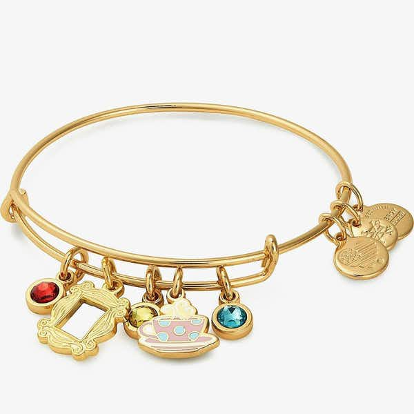 Friends Frame + Coffee Mug Charm Bangle, Shiny Gold, Alex and Ani