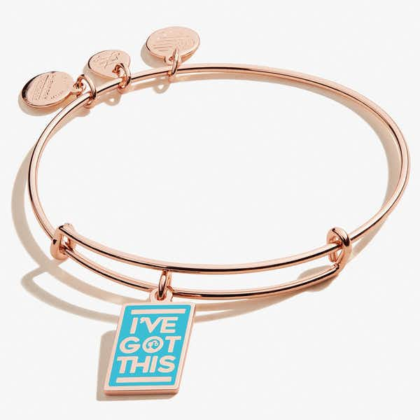 Barbie© 'I've Got This' Charm Bangle, Shiny Rose Gold, Alex and Ani