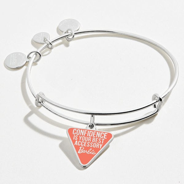 Barbie 'Confidence Is Your Best Accessory' Charm Bangle, Shiny Silver, Alex and Ani