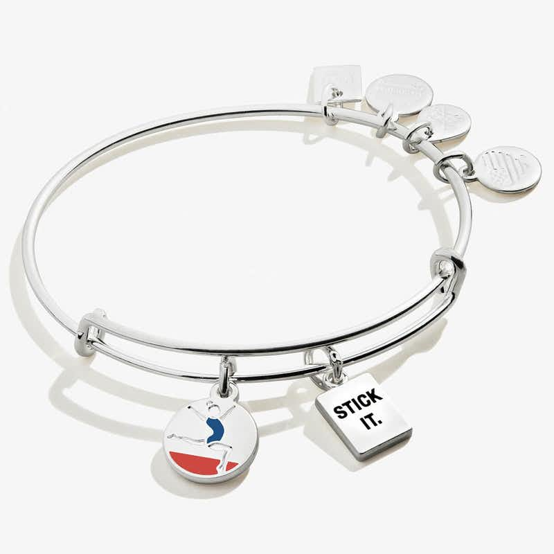 Team USA Gymnastics Duo Charm Bangle, Shiny Silver, Alex and Ani